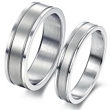 TITANIUM RING Cincin Couple Size 7(F) & 8(M) [GS219] - White & White - Cincin